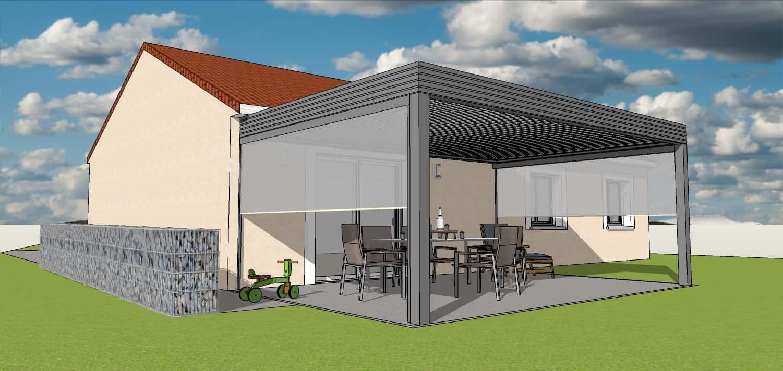 3D Pergola bioclimatique sur terrasse avec store sur les cotés