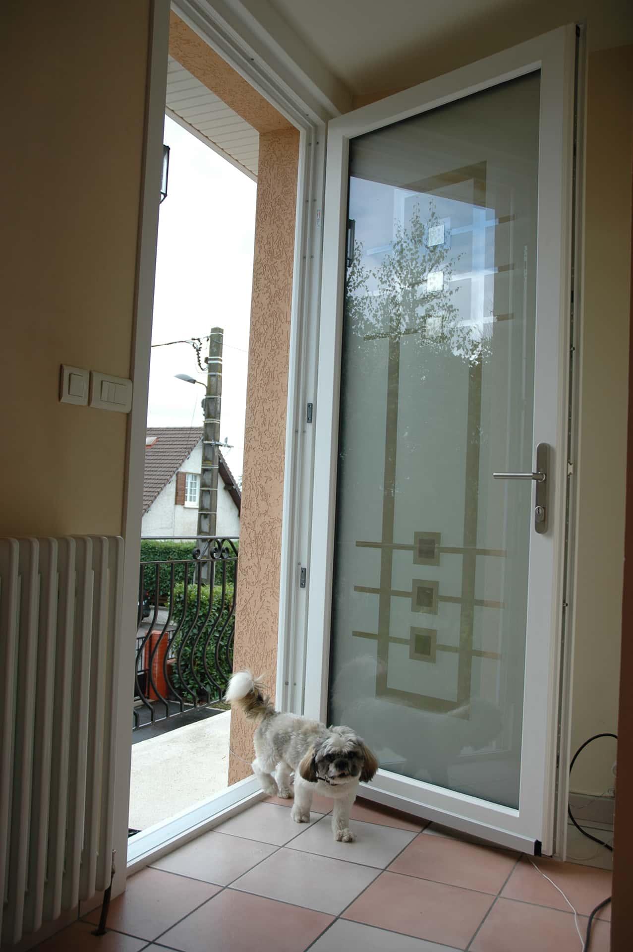 porte entrée aluminium et vitre avec motif opaque