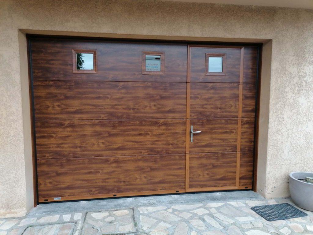 porte de garage aluminium imitation bois